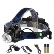 Huntvp Led Headlamp 2000lumens Xml-t6 Led Head Torch Zoomable And Rechargeabl...