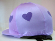 Equestrian / Horse Riding Hat Cover - Pale Purple With Darker Purple Hearts