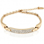 18kt Gold over Brass & Elements Block Bracelet