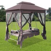Anself Luxury Outdoor Gazebo Swing Chair Sunbed Coffee