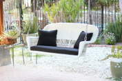 130cm Hand Woven White Resin Wicker Outdoor Porch Swing with Black Cushion
