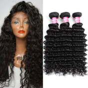Angels Beauty Brazilian Deep Wave Bundles Unprocessed Human Virgin Hair Weave Extensions Nature Black Colour