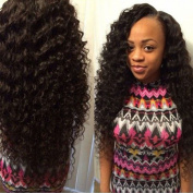 Cherie 7A Brazilian Deep Wave Virgin Hair 3 Bundles Wet and Wavy Human Hair 100% Unprocessed Virgin Human Hair Extensions 95-105g/pc Natural Black Colour Can Be Dyed and Bleached
