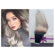 Re4U Russian Human Remy Hair Extensions 46cm Natural Colour to Grey Colour Seamless Tape in Silky Straight Weft Remy Virgin Hair