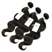 KISS HAIR Brazilian Body Wave Virgin Human Hair Weave Bundles Unprocessed Natural Off Black Colour Hair Extensioons Short Bob Style Full and Soft