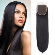 Msjoli Brazilian Virgin Straight Human Hair 4x 4 Free Part Lace Closure with Baby Hair Natural Black Colour