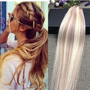 Full Shine 41cm One Piece Remy Human Hair Extension Piano Colour #18 Ash Blonde to Colour #613 Bleach Blonde 3/4 Full Head Clip in Hair Extensions 50g Per Package