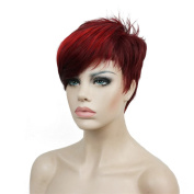Lydell Short Asymmetry Side Bang Wine Red Straight Wig Full Synthetic Wigs