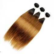 KISS HAIR Ombre Human Hair Bundles Silky Straight Two Tone Coloured Brazilian Virgin Remy Hair Weave Mix Length Hair Extensions