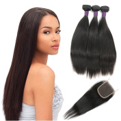 Brazilian Straight Hair 3 Bundles With a Free Part Lace Closure 100% Unprocessed Human Hair Bundles Natural Colour by ZING SILKY