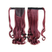 Wrap Around Synthetic Ponytail Clip in Hair Extensions Hair Pieces 60cm 90g One Piece Magic Paste Pony Tail Long Wavy Curly Soft Silky Wine Red