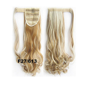 SherryShine Wrap Around Synthetic Ponytail Clip in Hair Extensions 60cm 90g One Piece Magic Paste Pony Tail Long Wavy Curly Soft Silky Strawberry Blonde