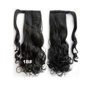 SherryShine Wrap Around Synthetic Ponytail Clip in Hair Extensions 60cm 90g One Piece Magic Paste Pony Tail Long Wavy Curly Soft Silky Black