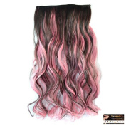 Stepupgirl 50cm Brown and Pink Mixed Colour Curly Full Head Synthetic Clip in Hair Extension with Souvenir Card by Stphair