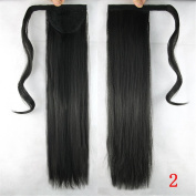 Jackcsale 60cm Long Straight Wrap Around Ponytail Hair Extension Synthetic Wig Hair Hairpiece 2