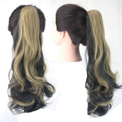 Jackcsale 60cm Long Curly Claw Clip In On Ponytail Hair Extension Synthetic Wig Hair Hairpiece 2H22