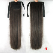 Jackcsale 60cm Long Straight Wrap Around Ponytail Hair Extension Synthetic Wig Hair Hairpiece 6