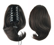 Jackcsale 25cm Short Curly Claw Clip In On Ponytail Hair Extension Synthetic Wig Hair Hairpiece 2/33