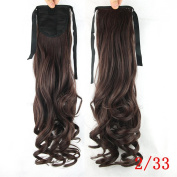 Jackcsale 60cm Long Curly Wrap Around Ponytail Hair Extension Synthetic Wig Hair Hairpiece 233