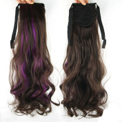 Jackcsale 60cm Long Curly Wrap Around Ponytail Hair Extension Synthetic Wig Hair Hairpiece Brown + Purple