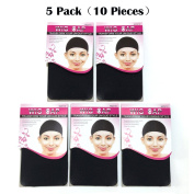 BQ 10 Pieces Dome Wig Caps for Women Making Wigs, 5 Pack(2 Pieces per Pack), Black Colour