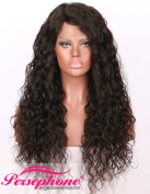 Persephone 2.5cm x 10cm Silk Base Lace Front Wigs Brazilian Hair Glueless Curly Human Hair Wigs Silk Top for Black Women 150 Density 60cm Natural Colour