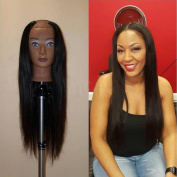 Virgin Brazilian Human Hair Straight U Part Wigs Middle Opening 2x 4 Size 130 Density for Black Women
