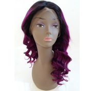 Lace Front Wig Glueless Full Lace Wigs Human Hair Ombre Wig Black Dark Roots 1B Purple 100% Peruvian Virgin Hair with Baby Hair
