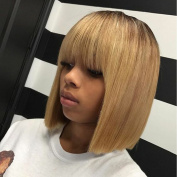 Kerrywigs Brazilian Hair Ombre Blonde Bob Cut Full Lace Human Hair Wigs With Bangs For Black Women Glueless Short Lace Front Wigs Fringe 130 Density -25cm lace front wig