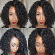Short Lace Front Curly Wigs for Black Women Brazilian Virgin Hair Glueless Curly Human Hair Bob Wigs with Baby Hair