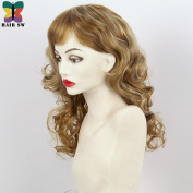 Medium Length Wavy Synthetic Wig Dark Golden Blonde Highlights Choppy For women