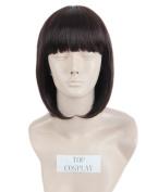 Topcosplay Short Straight Cosplay Halloween Wig Bob Hair Wigs Flat Bangs Nature Brown