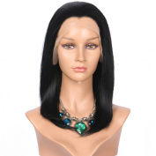 Addcolo Synthetic Lace Front Wigs Jet Black Replacement Full Synthetic Wig Bob Wigs for Black Women Heat Resistant Fibre Hair Half Hand Tied
