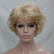 Women's Wig Wavy Curly Golden Blonde mix blonde Short Synthetic Hair Full Wig #24H613 Blonde Highlights