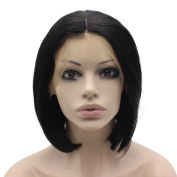 Short Bobl Black Swiss Lace Front Wig Synthetic Heat Resistant
