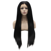 Long Straight Black Kinky Straight Natural Lace Front Synthetic Wig