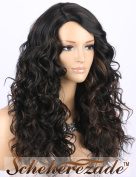 Scheherezade Black Curly Wig with Brown Highlights, Machine Made Deep Right Side Parting Synthetic Wigs for Women Mediun Length Black Hair Wig
