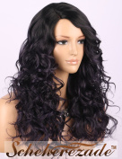 Scheherezade Fashionable Curly Wigs Ombre Black to Deep Purple Synthetic Wig for Women Machine Made Right Side Parting Medium Length Replacement Full Hiar Wig