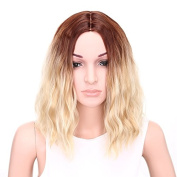 AISI HAIR Wavy Bob Wig Synthetic Short Wigs for Women Brown to Blonde Ombre Wig Middle Part Wig Heat Resistant Wig