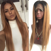 Fennell 8A Silky Straight Brazilian Human Hair Blonde Ombre Lace Front Wig With Baby Hair Human Hair Full Lace Wig Ombre Wigs