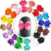 16pcs 18cm Glitter Sparkly Rhinestones Baby Girls Larger Big Grosgrain Ribbon Hair BowsAlligator Hair Clips