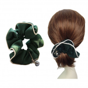 Green Love Design Hair Scrunchy Large Women's Hair Scrunchies Hair Bow Ponytail Holder