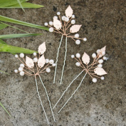 Missgrace Bridal Rose Gold Hair Pins Women Crystal Rhinestone Wedding Leaf Hair Pins Clip Hair Jewellery