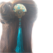 FANTAC CRAFTS Vintage Women Girl Hair Clip Bronze Tassel Bead Fan Kimono Hair Accessories Cosplay