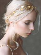 Bridalvenus Wedding Hair Vine Headband Gold Leaf Crown Tiara Accessories for Bride and Bridesmaid