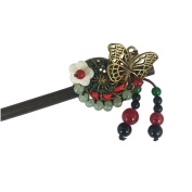 FANTAC CRAFTS Retro Hairpin Bead Butterfly Flower Tassel Hair Stick Accessories Updo Chignon Vintage