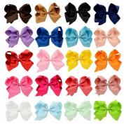 Pretty See Grosgrain Ribbon Bow Hair Clips 15cm Large Boutique Hair Bows for All Ages, 20Pcs/Set