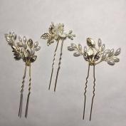 HailieBridal Women's Leaf Pearl Wedding Hair Pin