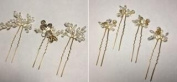 HailieBridal Pearl Rhinestone Golden Leaf Bridal Hair Pin
