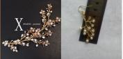 HailieBridal Women's White Flower Pearl Golden Bridal Hair Vine Headpiece